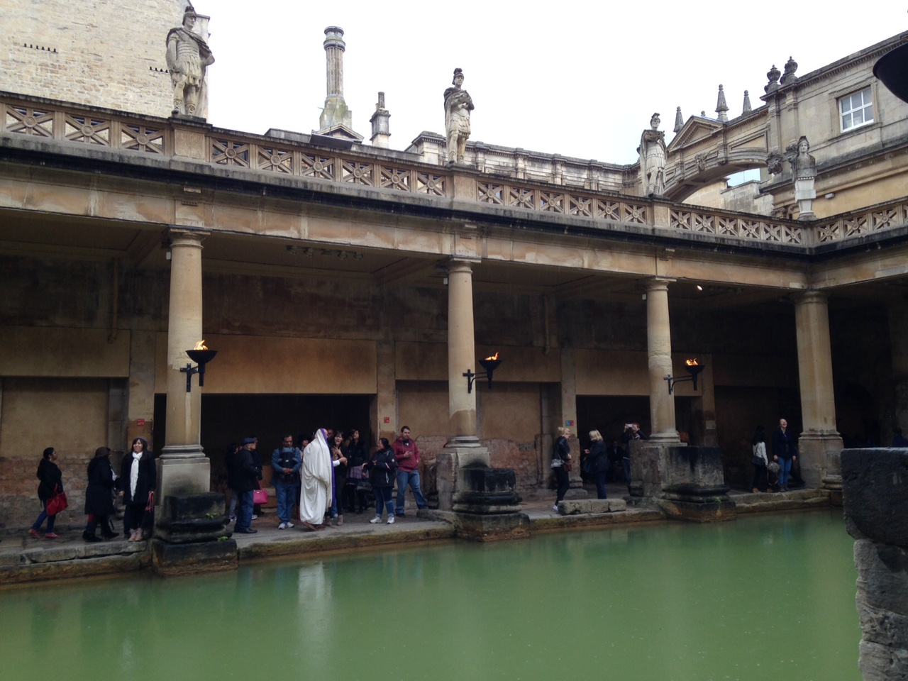 Roman structures around the hot springs in Bath, England. May 2015