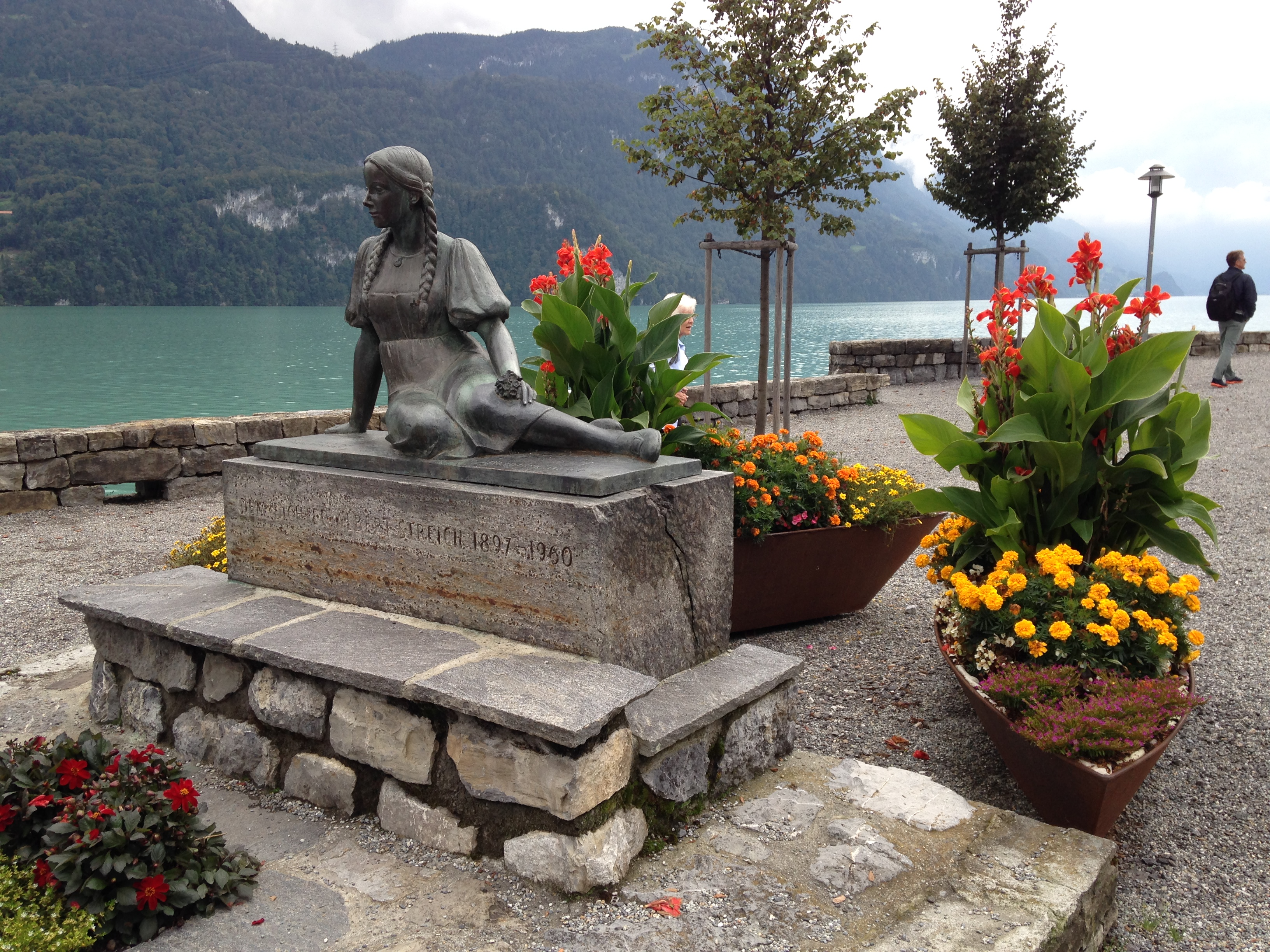 Statue on the shore of a Swiss lake. September 2016