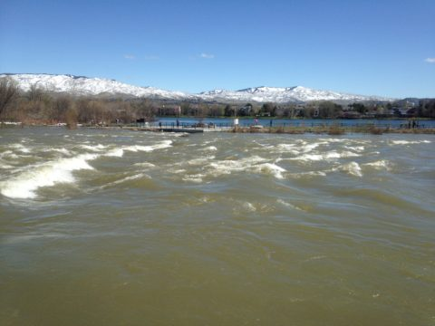 Boise River above flood stage end of March 2017